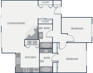 Williamsburg Floor Plan, 2 Bedroom, 2 Bath, 976 SF - The Row Townhomes, Townhomes for Rent between Factoria and Bellevue, Washington 98006