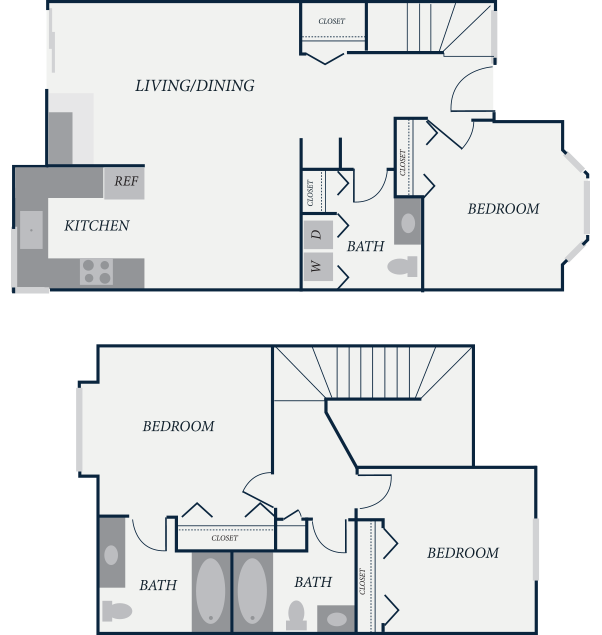 Cambridge Floor Plan, 2 Bedroom, 2 Bath, 922 SF - The Row Townhomes, Townhomes for Rent between Factoria and Bellevue, Washington 98006
