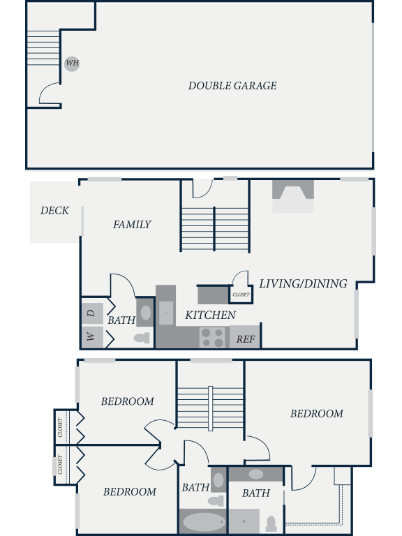 Hampton Floor Plan, 3 Bedroom, 2.5 Bath, 1378 SF - The Row Townhomes, Townhomes for Rent between Factoria and Bellevue, Washington 98006