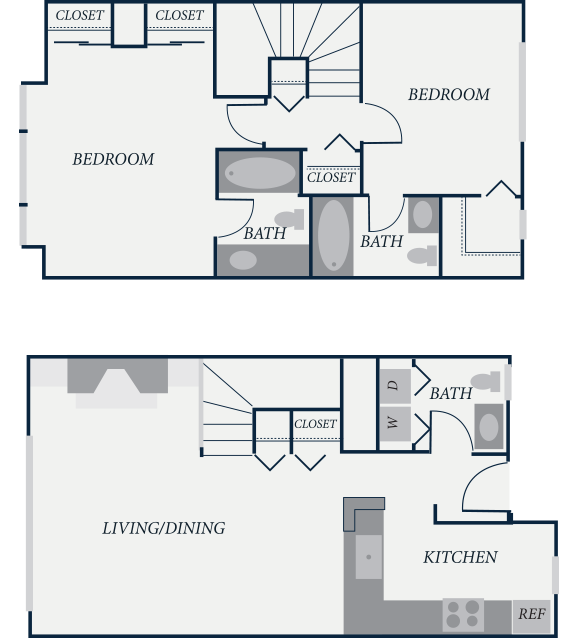 Jamestown Floor Plan, 2 Bedroom, 2.5 Bath, 1106 SF - The Row Townhomes, Townhomes for Rent between Factoria and Bellevue, Washington 98006