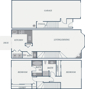 Plymouth Floor Plan, 2 Bedroom, 2.5 Bath, 1202 SF - The Row Townhomes, Townhomes for Rent between Factoria and Bellevue, Washington 98006