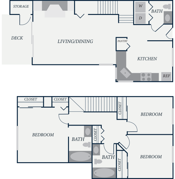Yorktown Floor Plan, 3 Bedroom, 2.5 Bath, 1245 SF - The Row Townhomes, Townhomes for Rent between Factoria and Bellevue, Washington 98006