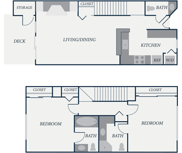 Lexington Floor Plan, 2 Bedroom, 2.5 Bath, 1075 SF - The Row Townhomes, Townhomes for Rent between Factoria and Bellevue, Washington 98006