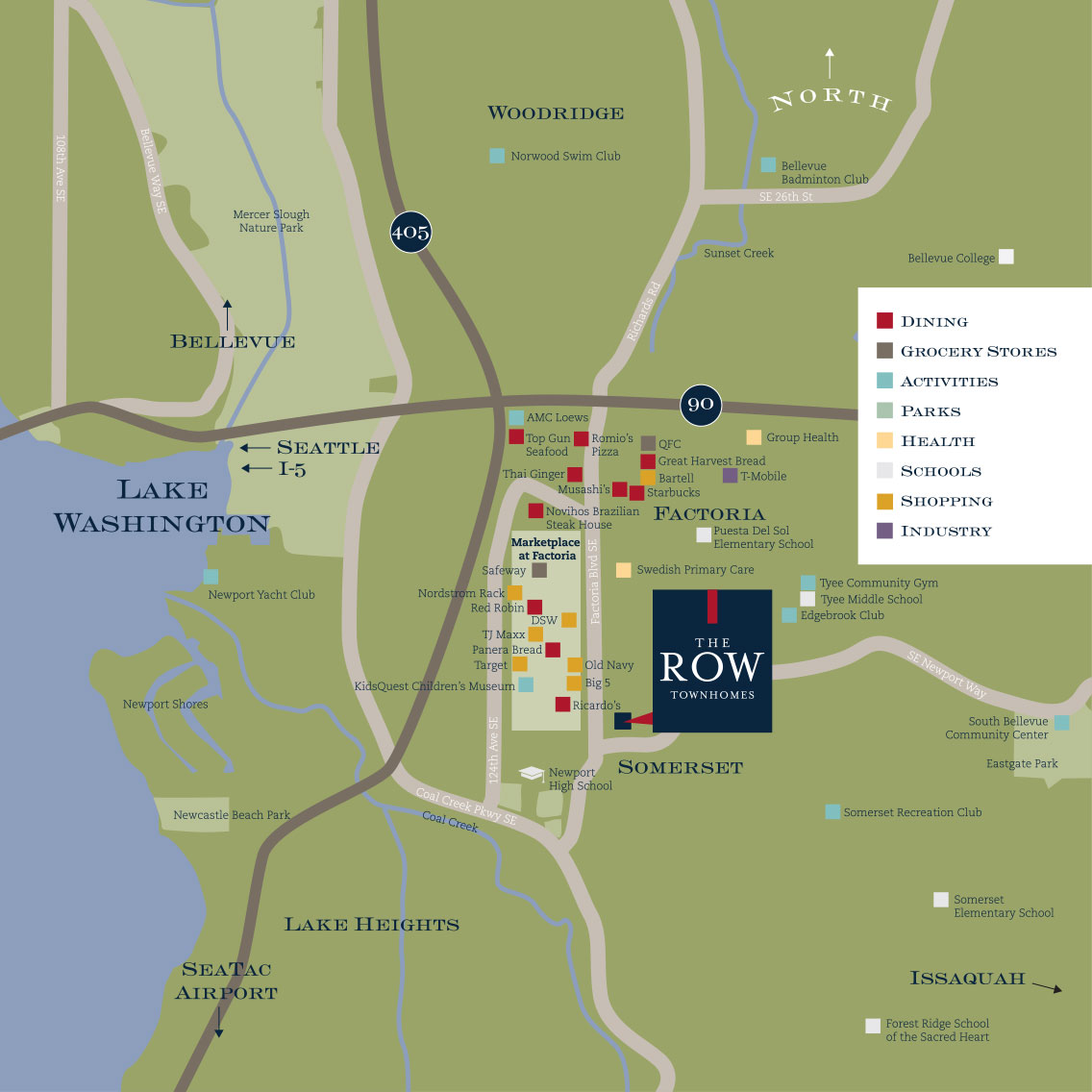 Vicinity Map of The Row Townhomes, Townhomes for Rent between Factoria and Bellevue, Washington 98006